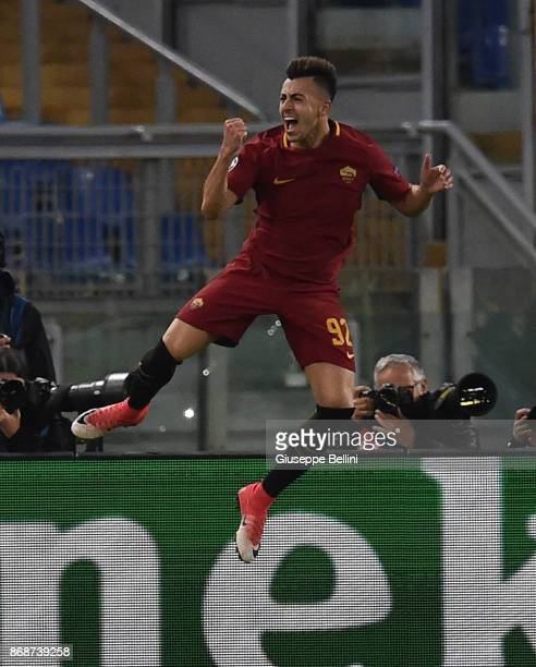 Stephan El Shaarawy of AS Roma celebrates after scoring goal 20 during the UEFA Champions League group C match between AS Roma and Chelsea FC at...