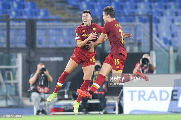 Stephan El Shaarawy of AS Roma celebrates after scoring second goal during the UEFA Conference League group C match between AS Roma and AS Roma at...