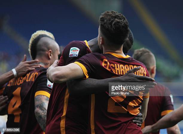 Stephan El Shaarawy of AS Roma celebrates after scoring the opening goal during the Serie A match between SS Lazio and AS Roma at Stadio Olimpico on...