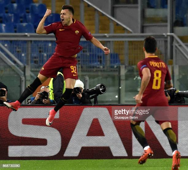 Stephan El Shaarawy of AS Roma celebrates after scoring the opening goal during the UEFA Champions League group C match between AS Roma and Chelsea...