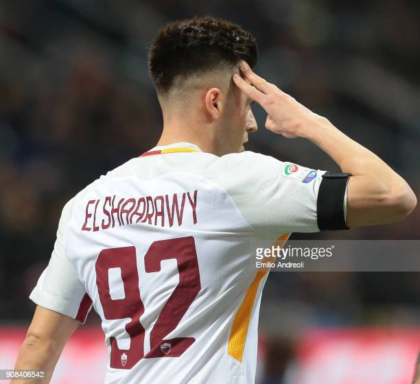 Stephan El Shaarawy of AS Roma celebrates after scoring the opening goal during the Serie A match between FC Internazionale and AS Roma at Stadio...