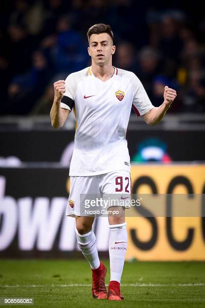 Stephan El Shaarawy of AS Roma celebrates after scoring the opening goal during the Serie A football match between FC Internazionale and AS Roma The...