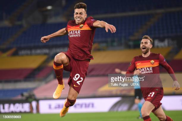 Stephan El Shaarawy of A.S Roma celebrates after scoring their side's second goal during the UEFA Europa League Round of 16 First Leg match between...