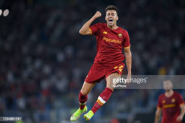 Stephan El Shaarawy of AS Roma celebrates after scoring third goal during the UEFA Conference League Play-Offs Second Leg match between Trabzonspor...