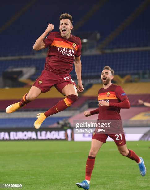 Stephan El Shaarawy of A.S Roma celebrates with team mate Borja Mayoral after scoring their side's second goal during the UEFA Europa League Round of...
