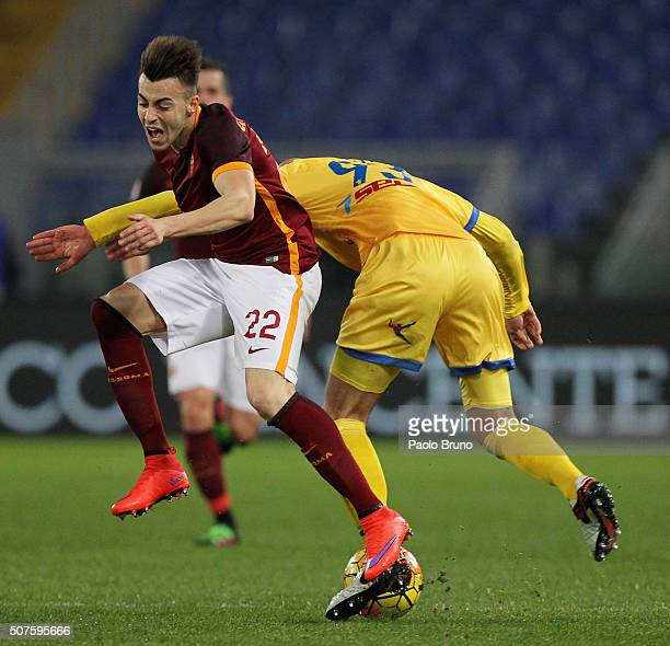 Stephan El Shaarawy of AS Roma competes for the ball with Arlind Ajeti of Frosinone Calcio during the Serie A match between AS Roma and Frosinone...