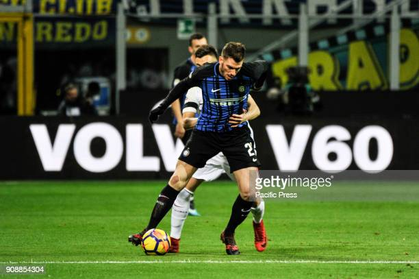 Stephan El Shaarawy of AS Roma competes for the ball with David Santon of FC Inter during Serie A football FC Inter versus AS Roma FC inter and AS...