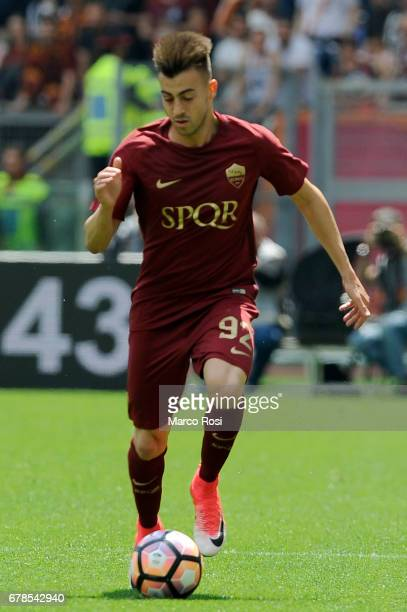 Stephan El Shaarawy of AS Roma during the Serie A match between AS Roma and SS Lazio at Stadio Olimpico on April 30 2017 in Rome Italy
