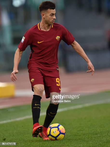 Stephan El Shaarawy of AS Roma in action during the serie A match between AS Roma and US Sassuolo at Stadio Olimpico on December 30 2017 in Rome Italy
