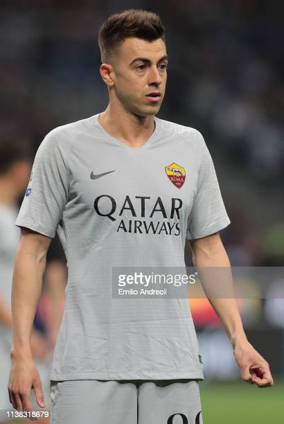Stephan El Shaarawy of AS Roma looks on during the Serie A match between FC Internazionale and AS Roma at Stadio Giuseppe Meazza on April 20, 2019 in...