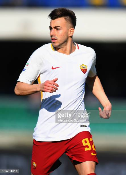Stephan El Shaarawy of AS Roma looks on during the serie A match between Hellas Verona FC and AS Roma at Stadio Marc'Antonio Bentegodi on February 4...