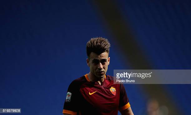 Stephan El Shaarawy of AS Roma looks on during the Serie A match between SS Lazio and AS Roma at Stadio Olimpico on April 3 2016 in Rome Italy