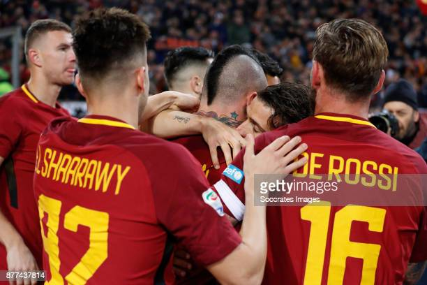 Stephan El Shaarawy of AS Roma Radja Nainggolan of AS Roma Alessandro Florenzi of AS Roma Daniele de Rossi of AS Roma during the Italian Serie A...