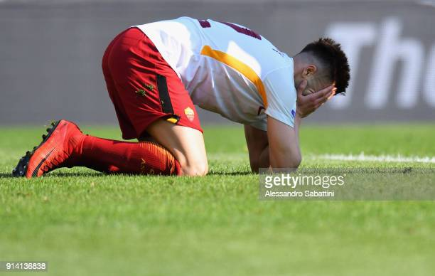 Stephan El Shaarawy of AS Roma reacts during the serie A match between Hellas Verona FC and AS Roma at Stadio Marc'Antonio Bentegodi on February 4...