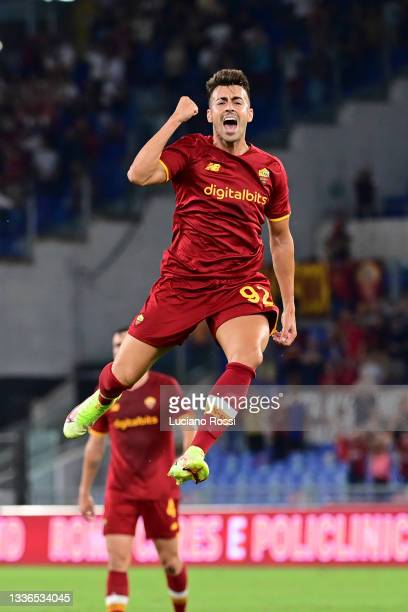 Stephan El Shaarawy of celebrates after scoring the third goal of his team during the UEFA Conference League Play-Offs Leg Two match between AS Roma...