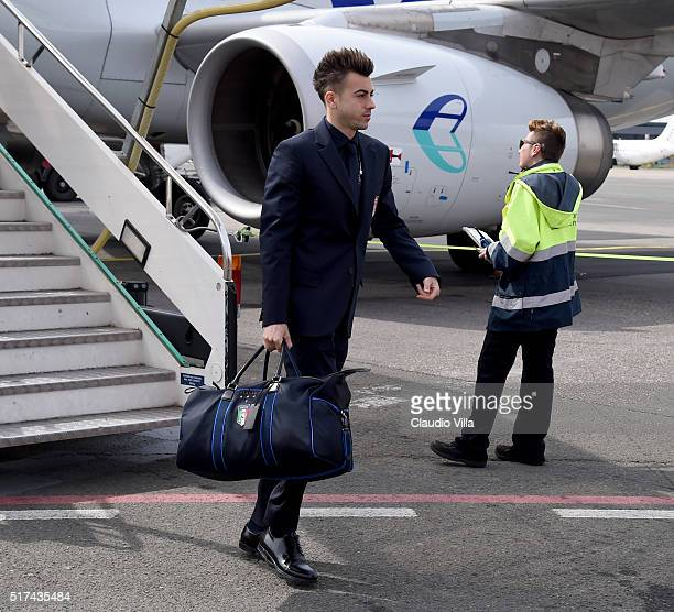 Stephan El Shaarawy of Italy arrives to Florence Airport on March 25 2016 in Florence Italy
