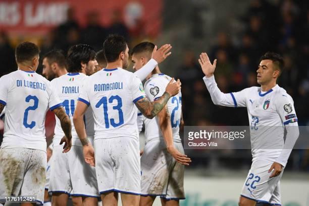 Stephan El Shaarawy of Italy celebrate during the UEFA Euro 2020 qualifier between Liechtenstein and Italy on October 15, 2019 in Vaduz,...