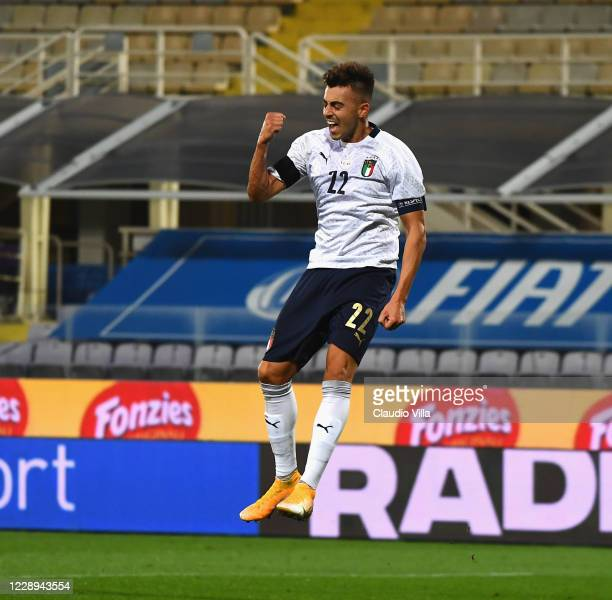 Stephan El Shaarawy of Italy celebrates after scoring his team's fourth goal during the international friendly match between Italy and Moldova at...