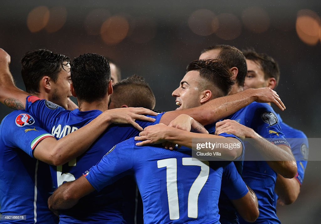 Stephan El Shaarawy of Italy (C) celebrates after scoring the second goal during the UEFA Euro 2016 qualifying football match between Azerbaijan and Italy at Olympic Stadium on October 10, 2015 in Baku, Azerbaijan.