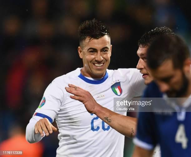Stephan El Shaarawy of Italy celebrates during the UEFA Euro 2020 qualifier between Liechtenstein and Italy on October 15, 2019 in Vaduz,...
