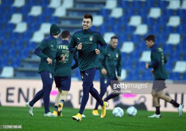 Stephan El Shaarawy of Italy in action during a training session at Centro Tecnico Federale di Coverciano on November 14, 2020 in Florence, Italy.