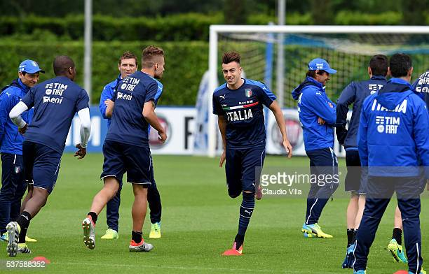 Stephan El Shaarawy of Italy in action during the Italy training session at the club's training ground at Coverciano on June 02 2016 in Florence Italy