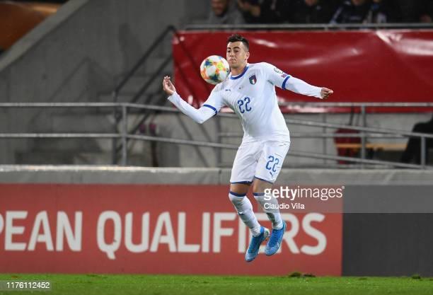 Stephan El Shaarawy of Italy in action during the UEFA Euro 2020 qualifier between Liechtenstein and Italy on October 15, 2019 in Vaduz,...