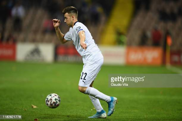 Stephan El Shaarawy of Italy in action during the UEFA Euro 2020 Qualifier between Bosnia and Herzegovina and Italy on November 15, 2019 in Zenica,...