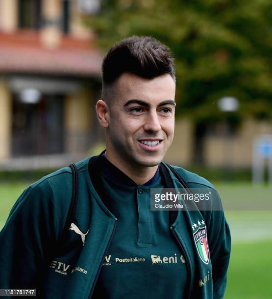 Stephan El Shaarawy of Italy looks on during a Italy training session at Centro Tecnico Federale di Coverciano on November 11, 2019 in Florence,...