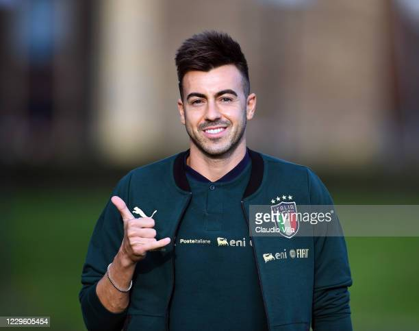 Stephan El Shaarawy of Italy looks on during a training session at Centro Tecnico Federale di Coverciano on November 13, 2020 in Florence, Italy.