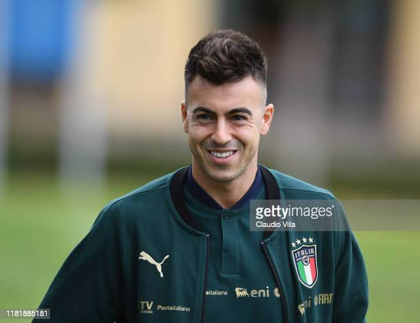 Stephan El Shaarawy of Italy looks on during Italy training session at Centro Tecnico Federale di Coverciano on November 12, 2019 in Florence, Italy.