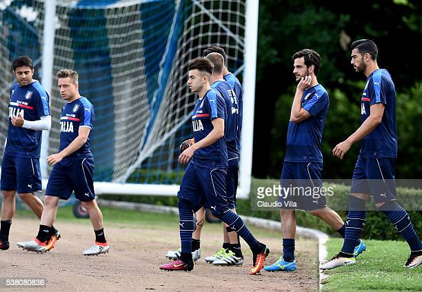 Stephan El Shaarawy of Italy looks on prior to the Italy training session at the club's training ground at Coverciano on June 04 2016 in Florence...