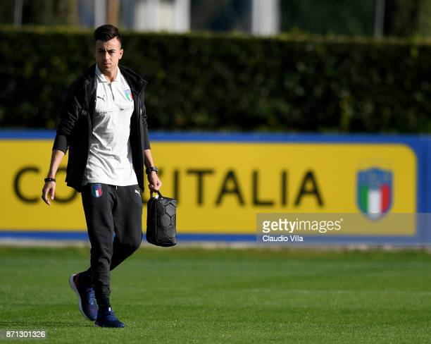 Stephan El Shaarawy of Italy looks on prior to the training session at Italy club's training ground at Coverciano on November 7 2017 in Florence Italy