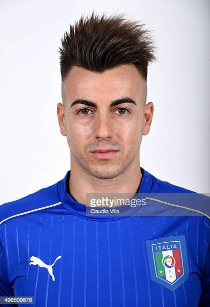 Stephan El Shaarawy of Italy poses during the official portrait session at Coverciano on November 10 2015 in Florence Italy