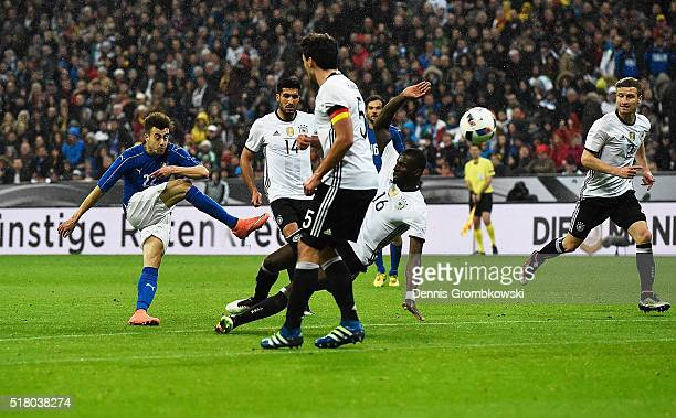 Stephan El Shaarawy of Italy scores a goal during the International Friendly match between Germany and Italy at Allianz Arena on March 29 2016 in...