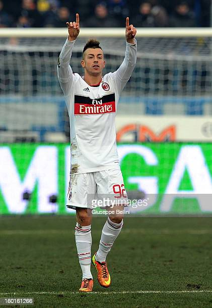 Stephan el shaarawy pictures and photos getty images stephan el shaarawy of milan celebrates after scoring the opening goal during the serie a match voltagebd Gallery
