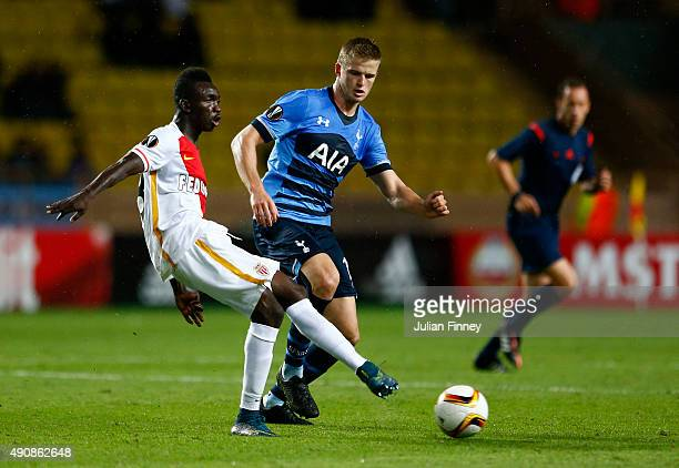 Stephan El Shaarawy of Monaco and Eric Dier of Tottenham Hotspur compete for the ball during the UEFA Europa League group J match between AS Monaco...