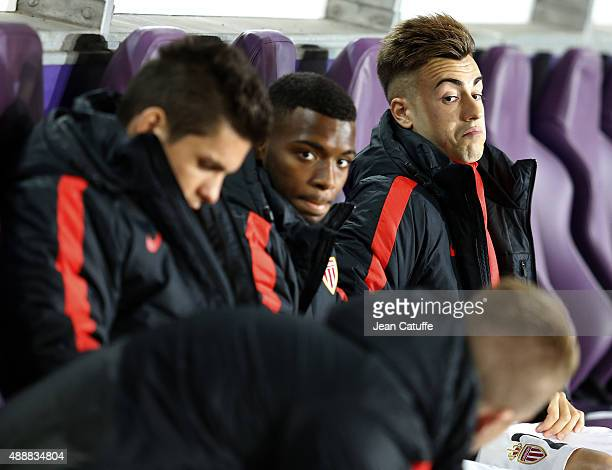 Stephan El Shaarawy of Monaco looks on while seating on the bench during the UEFA Europa League match between RSC Anderlecht and AS Monaco FC at...