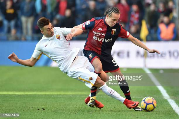 Stephan El Shaarawy of Roma and Diego Laxalt of Genoa vie for the ball during the Serie A match between Genoa CFC and AS Roma at Stadio Luigi...