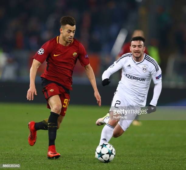 Stephan El Shaarawy of Roma and Gara Garayev of Qarabag during the UEFA Champions League Group C football match AS Roma vs FK Qarabag on December 5...