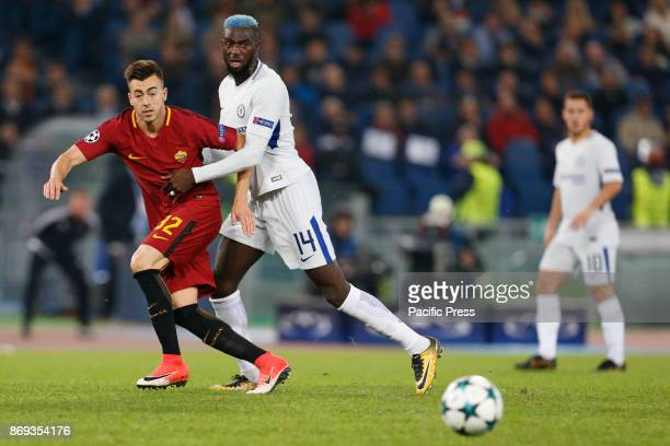Stephan El Shaarawy of Roma and Tiemoue Bakayoko of Chelsea fight for the ball during UEFA Champions League Group C soccer match between AS Roma and...