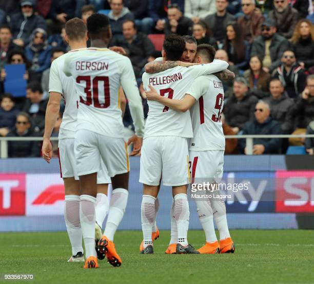 Stephan El Shaarawy of Roma celebrates after scoring his team's opening goal during the serie A match between FC Crotone and AS Roma at Stadio...