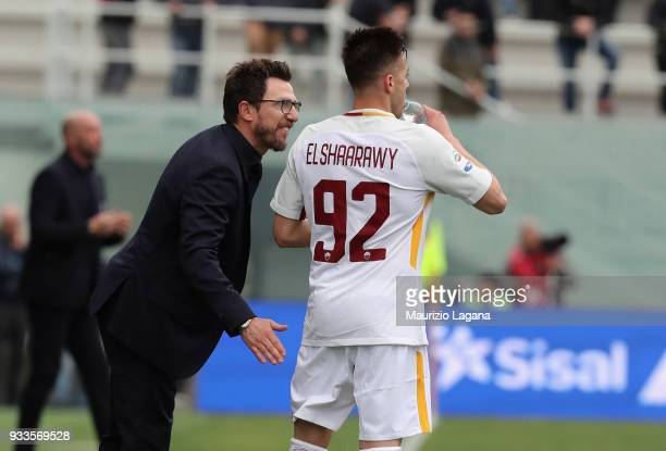 Stephan El Shaarawy of Roma celebrates after scoring his team's opening with Eusebio Di Francesco goal during the serie A match between FC Crotone...