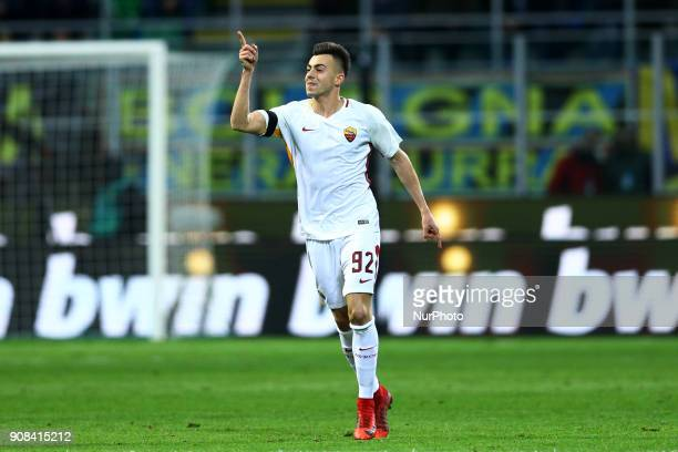 Stephan El Shaarawy of Roma celebrates after the goal scored of 01 during the Serie A match between FC Internazionale and AS Roma at Stadio Giuseppe...