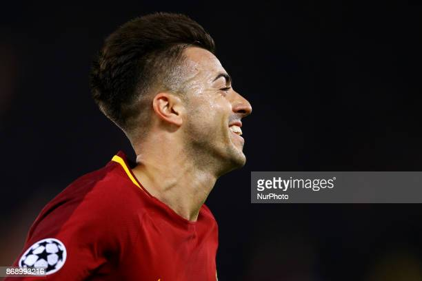Stephan El Shaarawy of Roma during the UEFA Champions League group C match between AS Roma and Chelsea FC at Stadio Olimpico on October 31 2017 in...