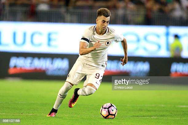 Stephan El Shaarawy of Roma in action during the Serie A match between Cagliari Calcio and AS Roma at Stadio Sant'Elia on August 28 2016 in Cagliari...