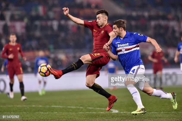 Stephan El Shaarawy of Roma is challenged by Bartosz Bereszynski of Sampdoria during the Serie A match between Roma and Sampdoria at Olympic Stadium...