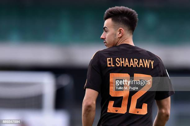 Stephan El Shaarawy of Roma looks on during the Serie A match between AC Chievo Verona and AS Roma at Stadio Marc'Antonio Bentegodi on December 10...