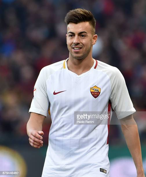 Stephan El Shaarawy of Roma smiles after scoring 01 during the Serie A match between Genoa CFC and AS Roma at Stadio Luigi Ferraris on November 26...