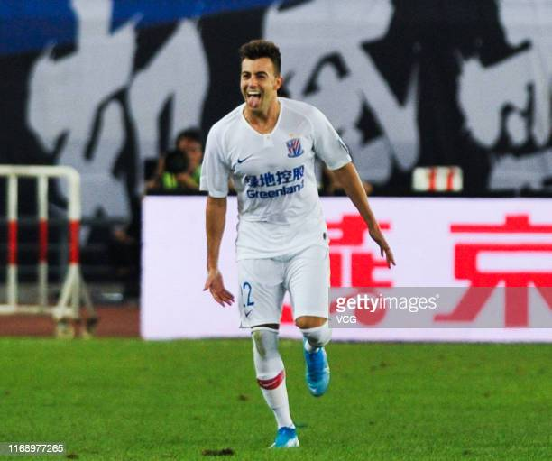 Stephan El Shaarawy of Shanghai Shenhua celebrates after scoring a goal during the 2019 Chinese Football Association Cup semi-final match between...